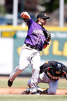 May 31, 2009:  Second Baseman Jared Head of the Akron Aeros attempts to turn a double play during a game at Jerry Uht Park in Erie, NY.  The Aeros are the Eastern League Double-A affiliate of the Cleveland Indians.  Photo by:  Mike Janes/Four Seam Images