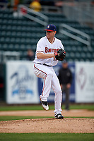 Harrisburg Senators starting pitcher Logan Darnell (19) delivers a pitch during the first game of a doubleheader against the New Hampshire Fisher Cats on May 13, 2018 at FNB Field in Harrisburg, Pennsylvania.  New Hampshire defeated Harrisburg 6-1.  (Mike Janes/Four Seam Images)