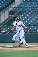 AZL Indians 2 left fielder Cristopher Cespedes (30) follows through on his swing during an Arizona League game against the AZL Angels at Tempe Diablo Stadium on June 30, 2018 in Tempe, Arizona. The AZL Indians 2 defeated the AZL Angels by a score of 13-8. (Zachary Lucy/Four Seam Images)
