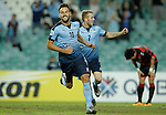 SYDNEY - APRIL 05:  Milos Ninkovic of Sydney FC celebrates scoring a goal during the AFC Champions League group H match between Sydney FC and Pohang Steelers on 05 April 2016 held at Sydney Football Stadium in Sydney, Australia. Photo by Mark Metcalfe / Power Sport Images  (Photo by Power Sport Images/Photo by Mark Metcalfe  / Power Sport Images) *** Local Caption *** Milos Ninkovic