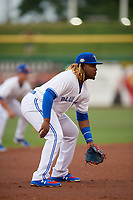 Dunedin Blue Jays third baseman Vladimir Guerrero Jr. (27) during a Florida State League game against the Clearwater Threshers on April 4, 2019 at Spectrum Field in Clearwater, Florida.  Dunedin defeated Clearwater 11-1.  Guerrero is on an injury rehab assignment from the Triple-A Buffalo Bisons.  (Mike Janes/Four Seam Images)