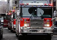 Camion de pompiers du SIM, en 2013<br /> <br /> PHOTO :  Agence Quebec Presse
