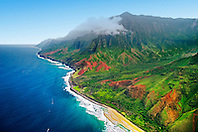Kalalau Valley and Kalalau Beach, the end of the 11 mile trail, Na Pali coast, Kauai, Hawaii, Pacific Ocean