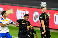 LOS ANGELES, CA - SEPTEMBER 02: Tristan Blackmon #27 of the LAFC with a defending head ball during a game between San Jose Earthquakes and Los Angeles FC at Banc of California stadium on September 02, 2020 in Los Angeles, California.