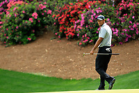 April 11th, 2013, Augusta GA, USA;  Tiger Woods of the United States reacts during the first round of the 2013 Masters golf tournament at the Augusta National Golf Club in Augusta, Georgia, the United States
