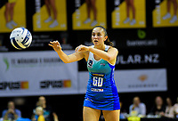 Kate Burley passes during the ANZ Premiership netball match between Central Pulse and Northern Mystics at TSB Bank Arena in Wellington, New Zealand on Monday, 10 May 2021. Photo: Dave Lintott / lintottphoto.co.nz