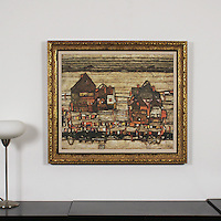 """Schiele: """"Two Blocks Of Houses With Cloth Lines"""", Digital Print, Image Dims. 25.5"""" x 30"""", Framed Dims. 32.5"""" x 37"""""""