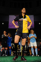 Manya Makoski of the Los Angeles Sol during the Puma WPS uniform unveiling in Philadelphia, PA, on January 15, 2010.