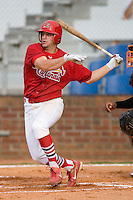 Richard Racobaldo #11 of the Johnson City Cardinals follows through on his swing versus the Bluefield Orioles at Howard Johnson Field August 1, 2009 in Johnson City, Tennessee. (Photo by Brian Westerholt / Four Seam Images)