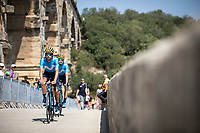 Team Movistar riders on their way to the pre stage sign on. <br /> <br /> Stage 17: Pont du Gard to Gap (200km)<br /> 106th Tour de France 2019 (2.UWT)<br /> <br /> ©kramon