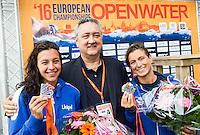BRUNI Rachele ITA gold medal European Champion and BRIDI Arianna ITA with LEN Presidente BARELLI Paolo<br /> Hoorn, Netherlands <br /> LEN 2016 European Open Water Swimming Championships <br /> Open Water Swimming<br /> Women's 10km<br /> Day 01 10-07-2016<br /> Photo Giorgio Perottino/Deepbluemedia/Insidefoto