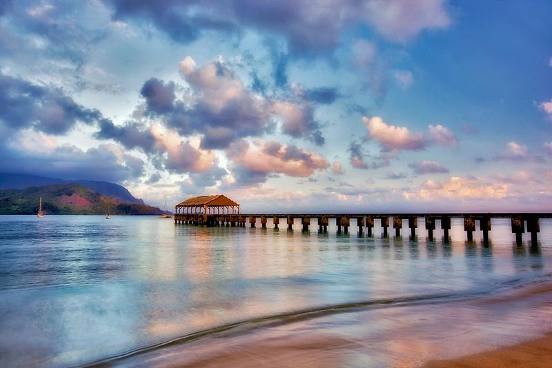 Sunrise with pier at Hanalei Bay, Kauai, Hawaii