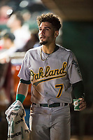 Mesa Solar Sox left fielder Luis Barrera (7), of the Oakland Athletics organization, in the dugout after hitting an inside-the-park home run during an Arizona Fall League game against the Scottsdale Scorpions on October 9, 2018 at Scottsdale Stadium in Scottsdale, Arizona. The Solar Sox defeated the Scorpions 4-3. (Zachary Lucy/Four Seam Images)