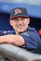 Catcher Trey Keegan (23) of the Danville Braves prior to in a game against the Johnson City Cardinals on Friday, July 1, 2016, at Legion Field at Dan Daniel Memorial Park in Danville, Virginia. Johnson City won, 1-0. (Tom Priddy/Four Seam Images)