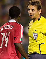 Chicago Fire forward Patrick Nyarko has words with referee Alex Prus. The LA Galaxy defeated the Chicago Fire 1-0 at Home Depot Center stadium in Carson, California on Friday October 2, 2009...