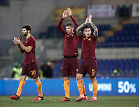 Calcio, Serie A: Roma vs Cagliari, Roma, stadio Olimpico, 22 gennaio 2017.<br /> From left Roma's Federico Fazio, Edin Dzeko and Leandro Paredes greets fans at the end of the Italian Serie A football match between Roma and Cagliari at Rome's Olympic stadium, 22 January 2017. <br /> UPDATE IMAGES PRESS/Isabella Bonotto