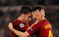 Roma s Kevin Strootman, left, and Kostas Manolas celebrate at the end of the Uefa Champions League quarter final second leg football match between AS Roma and FC Barcelona at Rome's Olympic stadium, April 10, 2018. Roma won 3-0 (4-4 on aggregate) to join the semifinals.<br /> UPDATE IMAGES PRESS/Riccardo De Luca