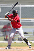 Boston Red Sox minor league player Reynaldo Rodriguez #16 during a spring training game vs the Baltimore Orioles at the Buck O'Neil Complex in Sarasota, Florida;  March 22, 2011.  Photo By Mike Janes/Four Seam Images