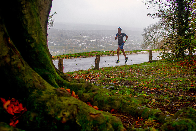 BallBuster Duathlon - HumanRace<br /> <br /> Athletes compete in the Ballbuster duathlon organised by Humanrace on Box Hill, in UK on the 2nd of November 2019. <br /> <br /> The race was stopped after the first running lap, when a tree fell on the course due to extreme weather conditions. <br /> <br /> Photo: Ikigai Sport/Bogdan Maran