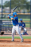 GCL Blue Jays third baseman Davis Schneider (76) at bat during the first game of a doubleheader against the GCL Yankees East on July 24, 2017 at the Yankees Minor League Complex in Tampa, Florida.  GCL Blue Jays defeated the GCL Yankees East 6-3 in a game that originally started on July 8th.  (Mike Janes/Four Seam Images)