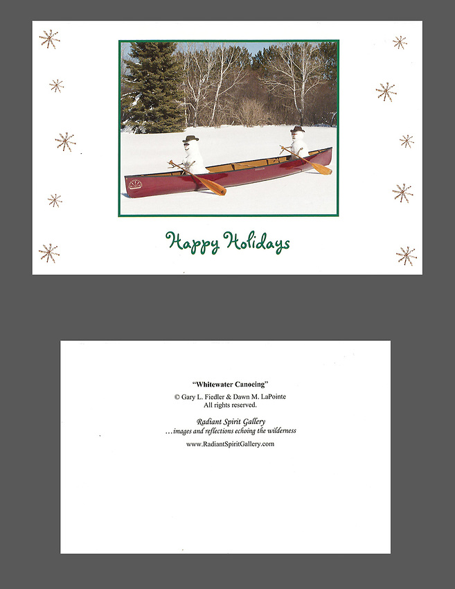 """""""Whitewater Canoeing"""" holiday cards, cards/envelopes, blank inside, approx. 5""""x7"""" folded; individual or pack of 10.<br /> *While current supplies last. 2013 design is no longer being printed."""