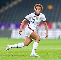 SOLNA, SWEDEN - APRIL 10: Crystal Dunn #19 of the USWNT watches the ball during a game between Sweden and USWNT at Friends Arena on April 10, 2021 in Solna, Sweden.