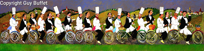 """""""Gourmet Tour of Burgundy""""<br /> Limited Edition Giclee 12 x 48<br /> SN Canvas $900.<br /> AP Paper w/Original Watercolor Remarque $1,700."""