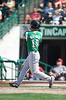 Dayton Dragons outfielder Kyle Waldrop #15 hits a home run during a Midwest League game against the Fort Wayne TinCaps at Parkview Field on August 19, 2012 in Fort Wayne, Indiana.  Dayton defeated Fort Wayne 5-1.  (Mike Janes/Four Seam Images)