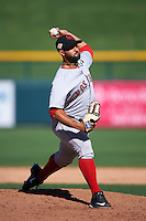 Scottsdale Scorpions pitcher Danny Rosenbaum (57) delivers a pitch during an Arizona Fall League game against the Mesa Solar Sox on October 19, 2015 at Sloan Park in Mesa, Arizona.  Scottsdale defeated Mesa 10-6.  (Mike Janes/Four Seam Images)