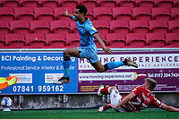 12th September 2020; Ashton Gate Stadium, Bristol, England; English Football League Championship Football, Bristol City versus Coventry City; Josh Pask of Coventry City leaps over the tackle of Taylor Moore of Bristol City