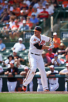 Baltimore Orioles first baseman Chris Davis (19) at bat during a Spring Training exhibition game against the Dominican Republic on March 7, 2017 at Ed Smith Stadium in Sarasota, Florida.  Baltimore defeated the Dominican Republic 5-4.  (Mike Janes/Four Seam Images)
