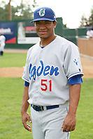 August 12, 2009: Antonio Castillo of the Ogden Raptors. The Ogden Raptors are the Pioneer League affiliate of the Los Angeles Dodgers. Photo by: Chris Proctor/Four Seam Images