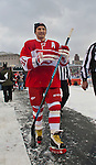 31 December 2013: Former Detroit Red Wings forward Sergei Fedorov (91) walks toward the dressing rooms after warmups before the Toronto Maple Leafs v Detroit Red Wings Alumni Showdown hockey game, at Comerica Park, in Detroit, MI.