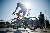 Mirko Selvaggi (ITA/Wanty-Groupe Gobert) to the start<br /> <br /> 3 Days of West-Flanders 2015<br /> stage 2: Nieuwpoort - Ichtegem 184km