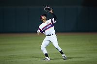Winston-Salem Rayados shortstop Lenyn Sosa (25) tracks a pop fly during the game against the Llamas de Hickory at Truist Stadium on July 6, 2021 in Winston-Salem, North Carolina. (Brian Westerholt/Four Seam Images)