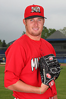 Batavia Muckdogs Pitcher Anthony Ferrara (24) poses for a photo before minicamp team practice at Dwyer Stadium in Batavia, New York June 14, 2010.   Photo By Mike Janes/Four Seam Images