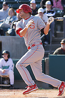 Drew Poulk of the North Carolina State Wolfpack hitting during  a game against  the Coastal Carolina University Chanticleers at the Baseball at the Beach Tournament held at BB&T Coastal Field in Myrtle Beach, SC on February 28, 2010.
