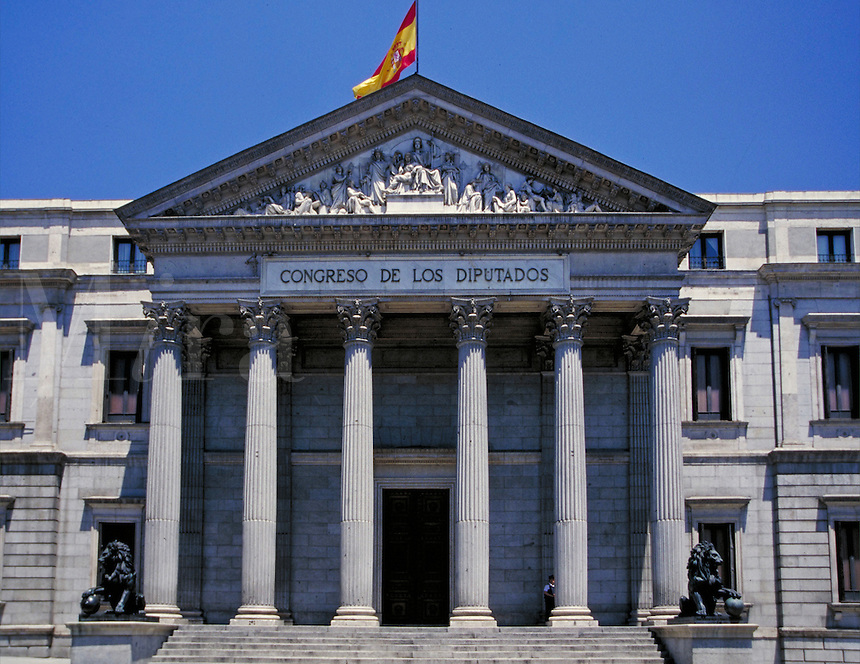 Congreso De Los Diputados, Madrid, Spain. architecture, ionic columns, frieze, relief, relivio, sculpture. Madrid, Spain.