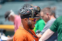 Jon Singleton (21) of the Fresno Grizzlies talks with the fans before the game against the Salt Lake Bees in Pacific Coast League action at Smith's Ballpark on June 14, 2015 in Salt Lake City, Utah.  (Stephen Smith/Four Seam Images)