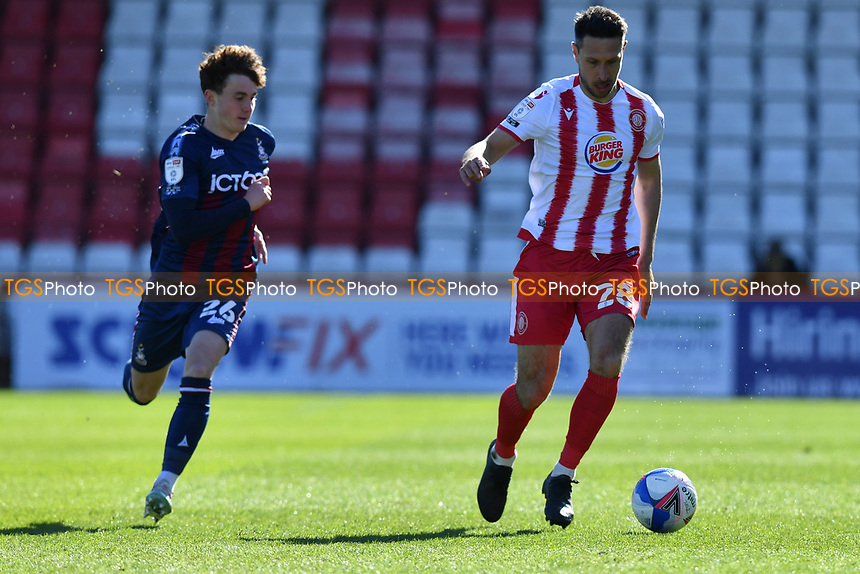 Joe Martin of Stevenage FC and Kian Scales of Bradford City AFC during Stevenage vs Bradford City, Sky Bet EFL League 2 Football at the Lamex Stadium on 5th April 2021