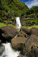 Scenic Waimea Falls and its deep pool offer a cool dip for visitors to the park. Located as part of the Waimea Valley Audobon Center this ecopark offers its visitors a look back on ancient hawaiian culture as wells as gardens,waterfalls,dining and s