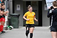 Katie Barrott of Capital celebrates her 50th match for Wellington today, ISPS Handa Women's Premiership - Capital Football v Canterbury Utd Pride at Petone Memorial Park, Wellington on Saturday 5 December 2020.<br /> Copyright photo: Masanori Udagawa /  www.photosport.nz