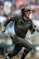 Vanderbilt Commodores third baseman Austin Martin (16) runs to first base during Game 8 of the NCAA College World Series against the Mississippi State Bulldogs on June 19, 2019 at TD Ameritrade Park in Omaha, Nebraska. Vanderbilt defeated Mississippi State 6-3. (Andrew Woolley/Four Seam Images)