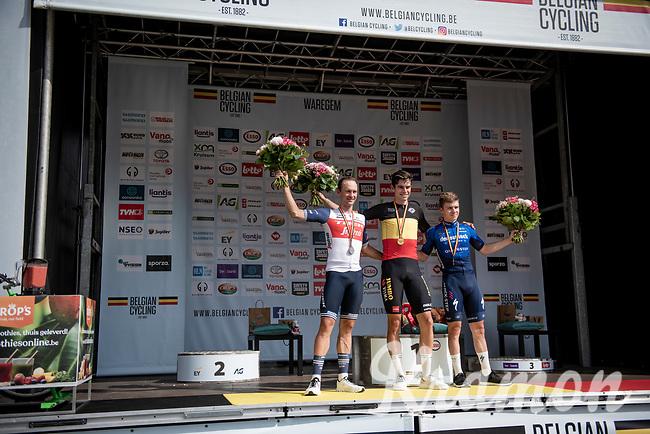 Wout van Aert (BEL/Jumbo-Visma) wins the 2021 Belgian tricolore ahead of Edward Theuns (BEL/Trek-Segafredo) & Remco Evenepoel (BEL/Deceuninck-QuickStep)<br /> <br /> Belgian National Championships 2021 - Road Race<br /> <br /> One day race from Waregem to Waregem (221km)<br /> <br /> ©kramon