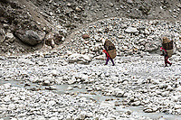 Two women carry load of 55 kg of Rhododendron and Birch leaves (collected in Omaka) used for compost photographed somewhere between Ama Dablam basecamp and Pangboche.