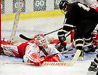 2 January 2011: Ohio State University Buckeye goaltender Cal Heeter, a Junior from  St. Louis, MO, in action against the Army Black Knights at Gutterson Fieldhouse in Burlington, Vermont. The Buckeyes defeated the Black Knights 5-3 to win the 2010-2011 Catamount Cup. Mandatory Credit: Ed Wolfstein Photo