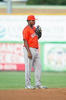 Greeneville Astros shortstop Juan Santana (3) on defense against the Burlington Royals at Burlington Athletic Park on June 30, 2014 in Burlington, North Carolina.  The Royals defeated the Astros 9-8. (Brian Westerholt/Four Seam Images)