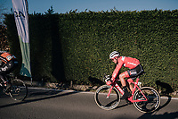 Mads Pedersen (DEN/Trek-Segafredo) is about to throw in the towel after having worked hard throughout the day to keep teammate Jasper Stuyven in a good position for the finale.<br /> <br /> 70th Kuurne-Brussel-Kuurne 2018<br /> Kuurne › Kuurne: 200km (BELGIUM)