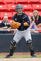 Catcher Kevin Dubler #35 of the Kannapolis Intimidators looks the runner back at first base at  L.P. Frans Stadium August 1, 2010, in Hickory, North Carolina.  Photo by Brian Westerholt / Four Seam Images