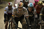 The chase group led by Marcus Burghardt (GER) Bora-Hansgrohe hit the white dirt roads of Tuscany during the 2018 Strade Bianche Men Elite NamedSport race running 184km from Siena to Siena, Tuscany, Italy. 3rd March 2018.<br /> Picture: LaPresse/Fabio Ferrari | Cyclefile<br /> <br /> <br /> All photos usage must carry mandatory copyright credit (© Cyclefile | LaPresse/Fabio Ferrari)